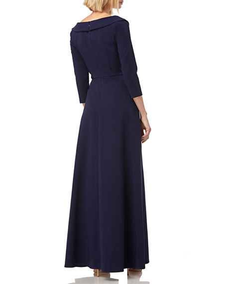 Image 3 of 4: Kay Unger New York Walk Thru Boat-Neck 3/4-Sleeve Jumpsuit w/ Crepe Overlay Skirt