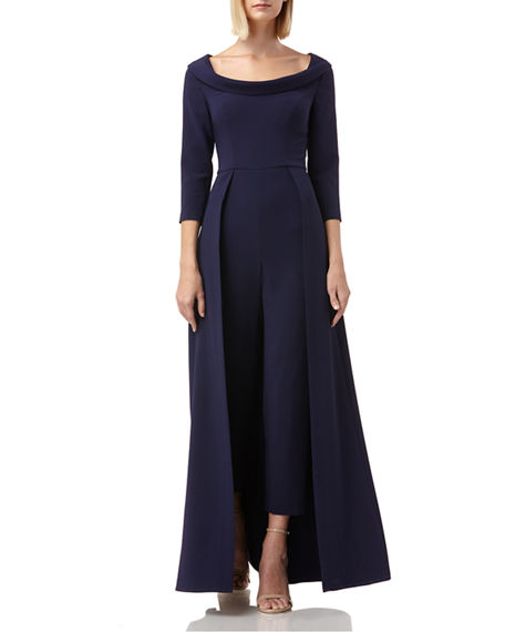 Image 1 of 4: Kay Unger New York Walk Thru Boat-Neck 3/4-Sleeve Jumpsuit w/ Crepe Overlay Skirt