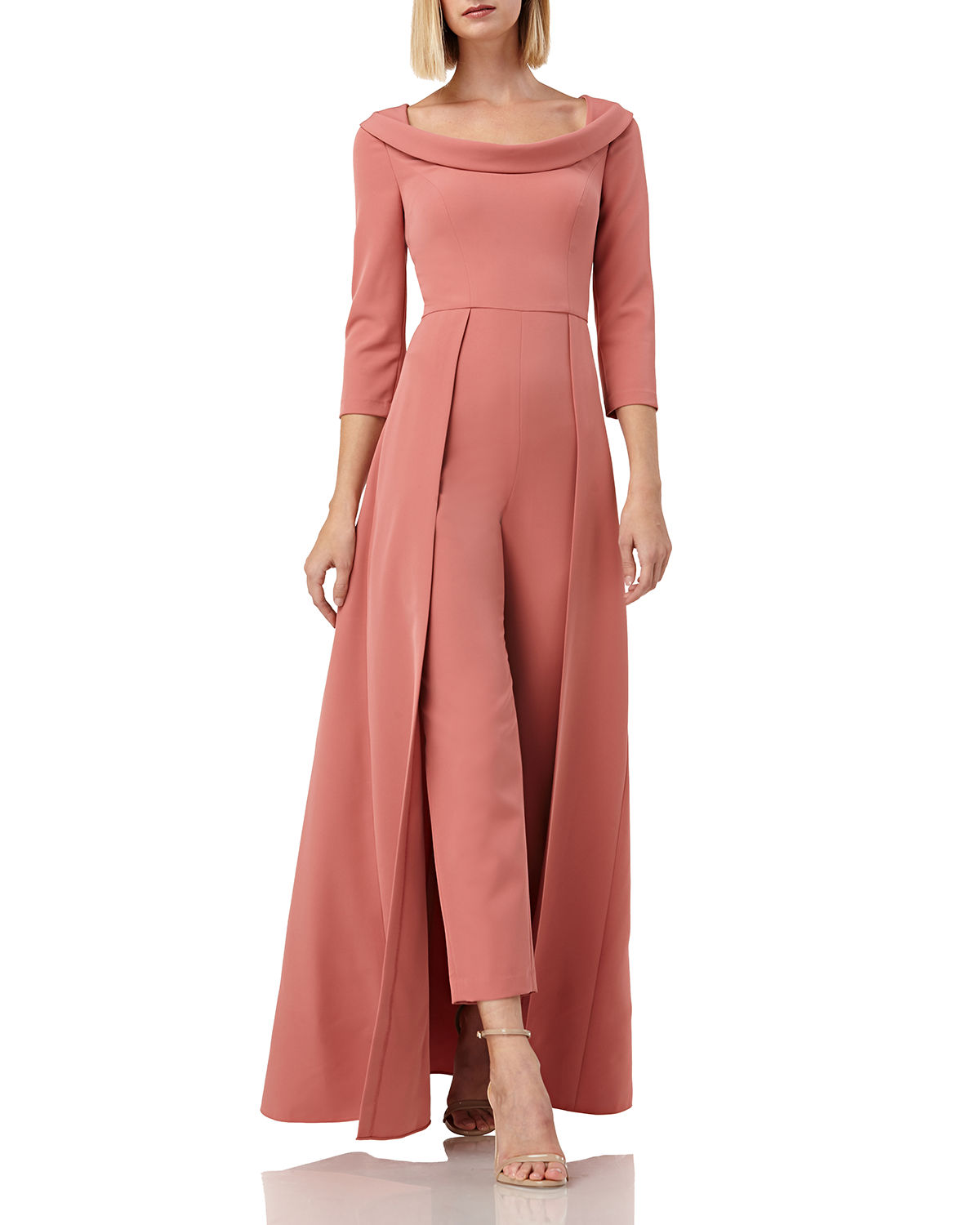 Kay Unger Suits WALK THRU BOAT-NECK 3/4-SLEEVE JUMPSUIT W/ CREPE OVERLAY SKIRT