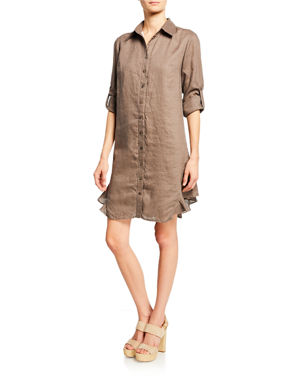 25f614ca30 Finley Agetha Button-Down Long-Sleeve Linen Shirtdress