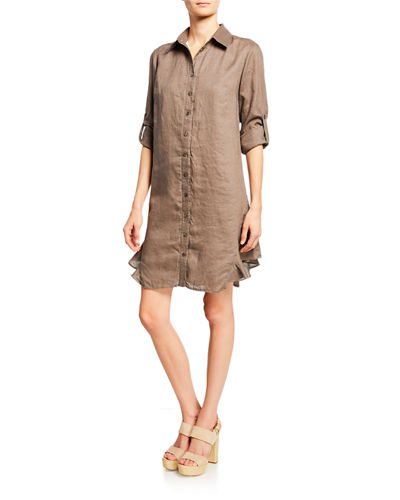 Agetha Button-Down Long-Sleeve Linen Shirtdress