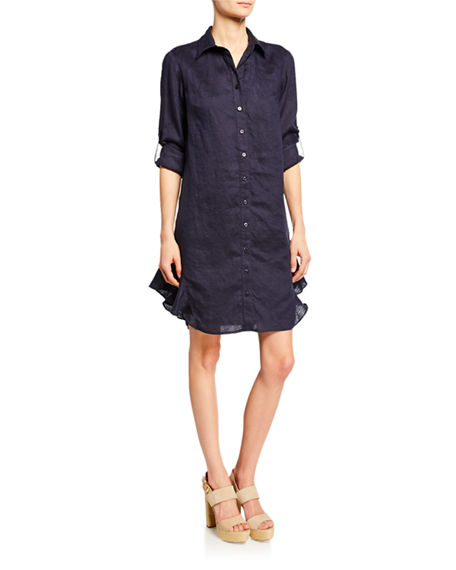 Finley AGETHA BUTTON-DOWN LONG-SLEEVE LINEN SHIRTDRESS