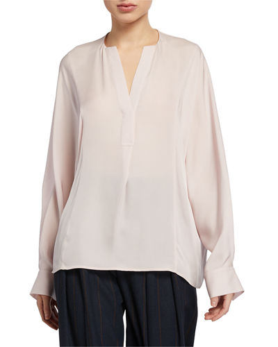 Half Placket Long-Sleeve Silk Blouse