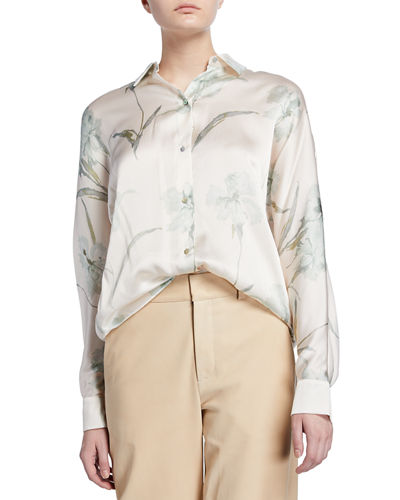 incredible prices big selection best White Long Sleeve Silk Blouse | Neiman Marcus