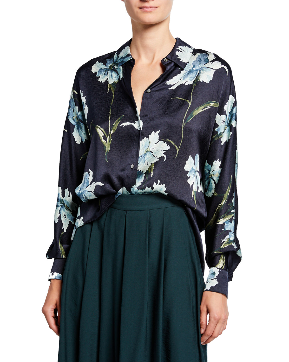 Iris Print Long Sleeve Silk Blouse by Vince