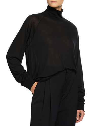 Shrunken Merino Wool/Silk Turtleneck Sweater