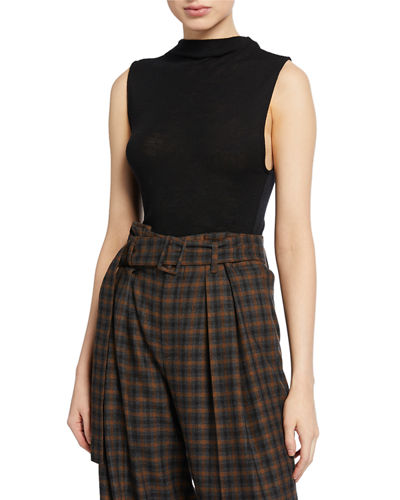 Sleeveless Wool Funnel-Neck Top