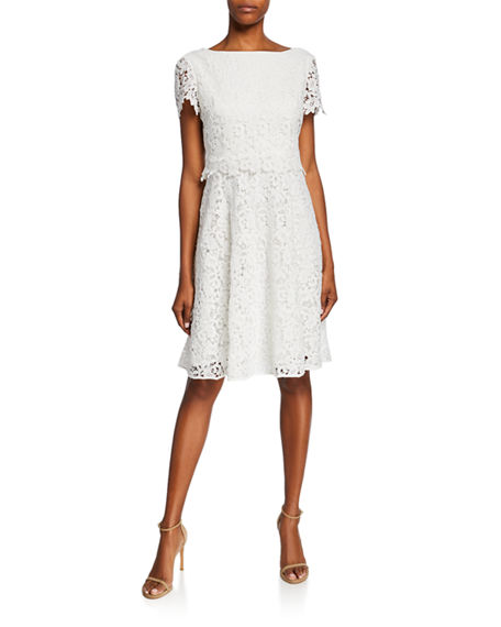 Shani Bateau-Neck Short-Sleeve Fit-&-Flare Popover Lace Dress