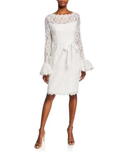 Illusion-Neck Bell-Sleeve Lace Sheath Dress w/ Sash