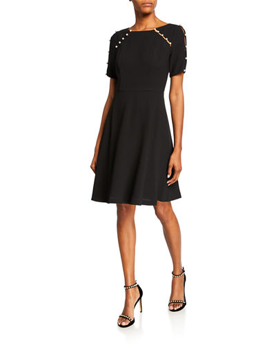 Short-Sleeve Fit-&-Flare Dress with Pearlescent Detail