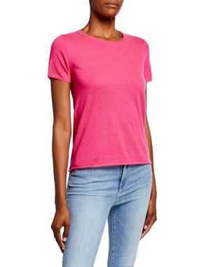 757a057ce Majestic Paris for Neiman Marcus Crewneck Short-Sleeve Cashmere Tee