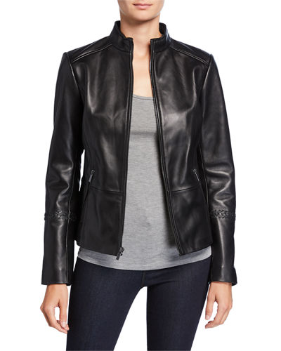 Women Black Designer Biker Slim Fit Leather Jacket