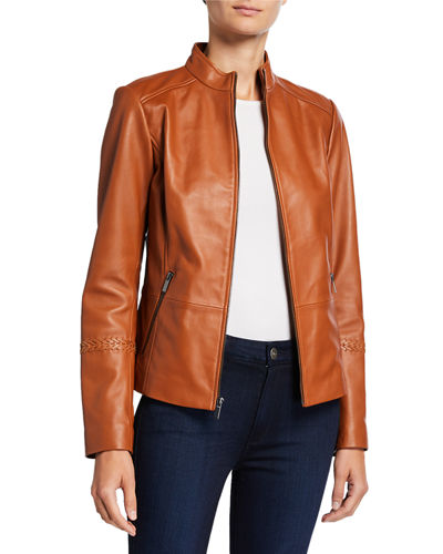 Zip-Front Leather Jacket with Braided Arm Detail