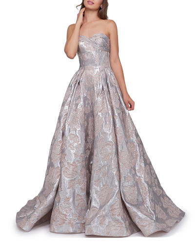 Metallic Floral Strapless Sweetheart Ball Gown