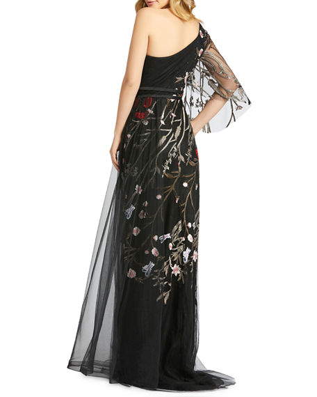 Image 2 of 2: Mac Duggal Floral Embellished One-Shoulder Illusion Sleeve Tulle Gown