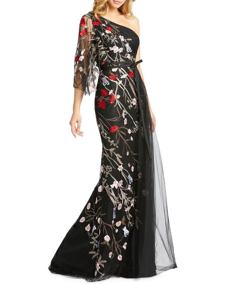 Mac Duggal Floral Embellished One-Shoulder Illusion Sleeve Tulle Gown