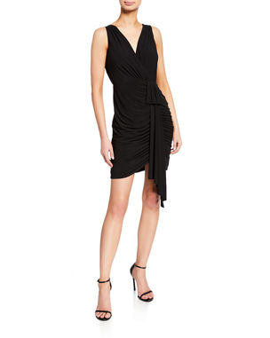 70a5a7d4c2b Aidan by Aidan Mattox V-Neck Sleeveless Draped Jersey Cocktail Dress