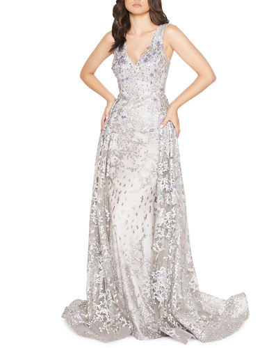 Beaded Floral Embroidered V-Neck Sleeveless Gown with Overskirt