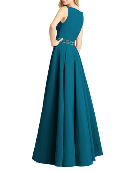 Ieena for Mac Duggal Beaded-Waist Bateau-Neck Sleeveless Pleated A-Line Gown