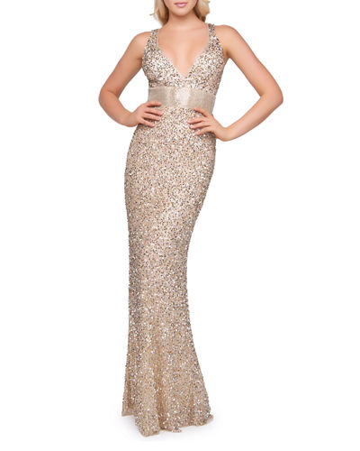 Sequin V-Neck Empire-Waist Sleeveless Column Gown