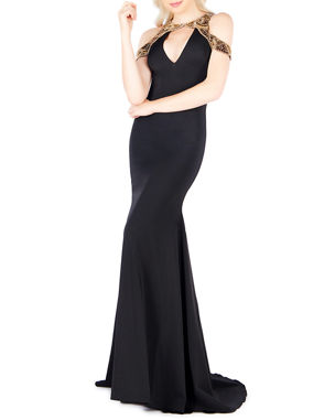 a2945608f1e Ieena for Mac Duggal Beaded Cold-Shoulder Keyhole Trumpet Gown