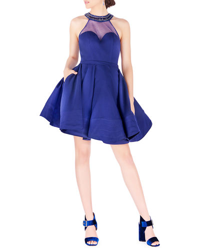 Bejeweled Halter Illusion Fit-&-Flare Mini Dress w/ Pockets