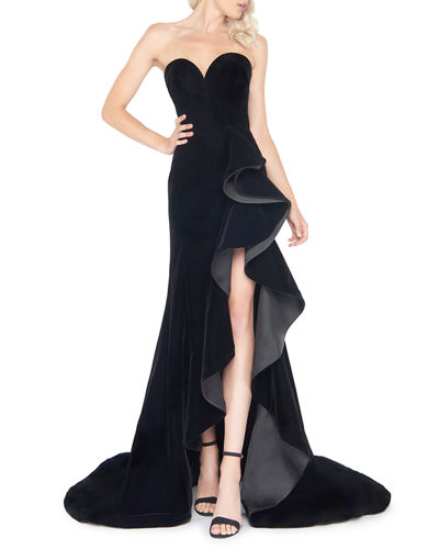 Mac Duggal Strapless Sweetheart Velvet Ruffle Gown with Train & Slit