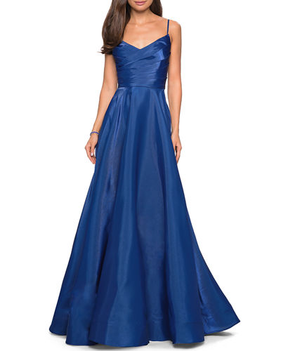 V-Neck Ruched-Bodice Sleeveless Chiffon Gown