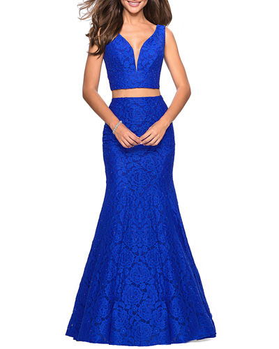 Two-Piece Stretch-Lace Dress Set w/ Sleeveless Crop Top & Mermaid Skirt