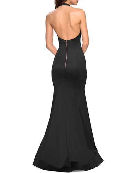 Image 2 of 2: La Femme Stretch-Satin Mermaid Halter Gown