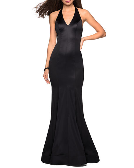 Image 1 of 2: La Femme Stretch-Satin Mermaid Halter Gown