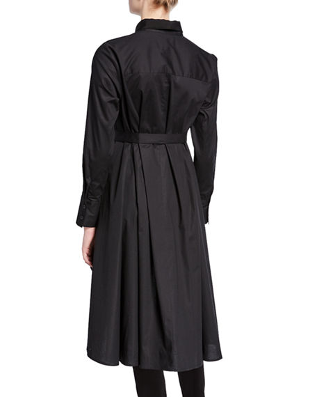82daf2dce12 DUBGEE by Whoopi Plus Size Button-Down High-Low Belted Cotton Poplin ...