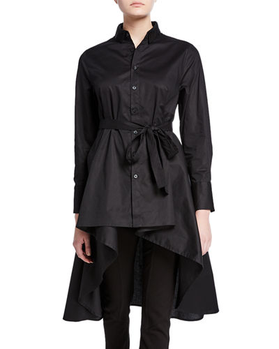 Plus Size Button-Down High-Low Belted Cotton Poplin Tunic