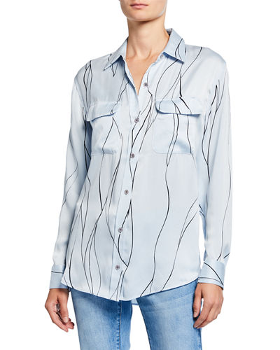 Slim Signature Printed Button-Front Blouse