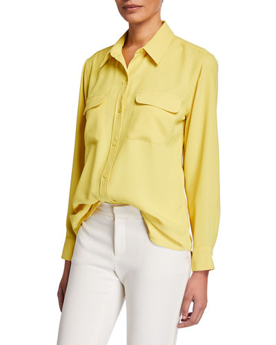 Signature Button-Down Long-Sleeve Blouse