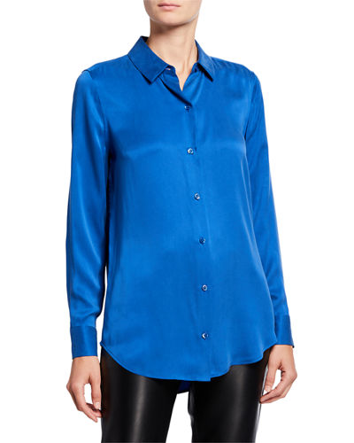 Equipment Essential Button-Down Long-Sleeve Silk Blouse