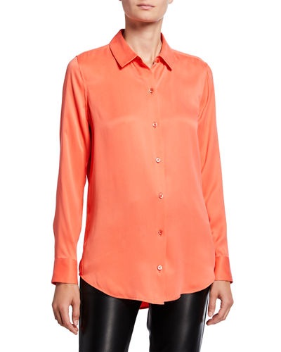 Essential Button-Down Long-Sleeve Silk Blouse