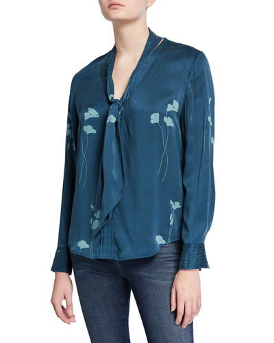 Fayanna Floral Tie-Neck Long-Sleeve Silk Blouse