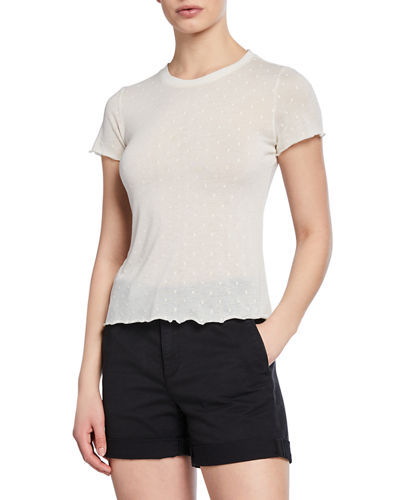 Bre Swiss Dot Crewneck Short-Sleeve Tee