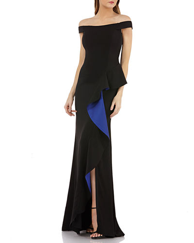 Carmen Marc Valvo Infusion Off-the-Shoulder Crepe Gown w/ Satin-Lined Cascading Ruffle