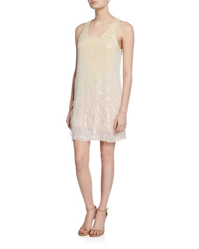 Hope Sleeveless Beaded Shift Dress with Feathers