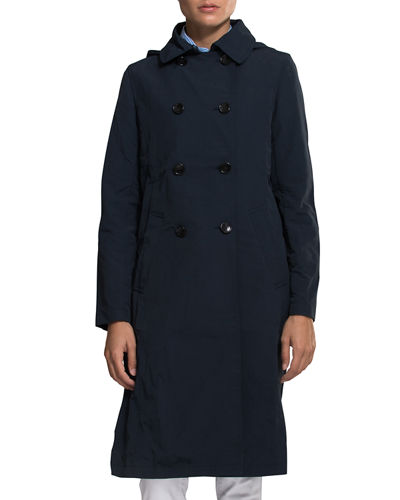 Crinkle Trench Coat w/ Hood