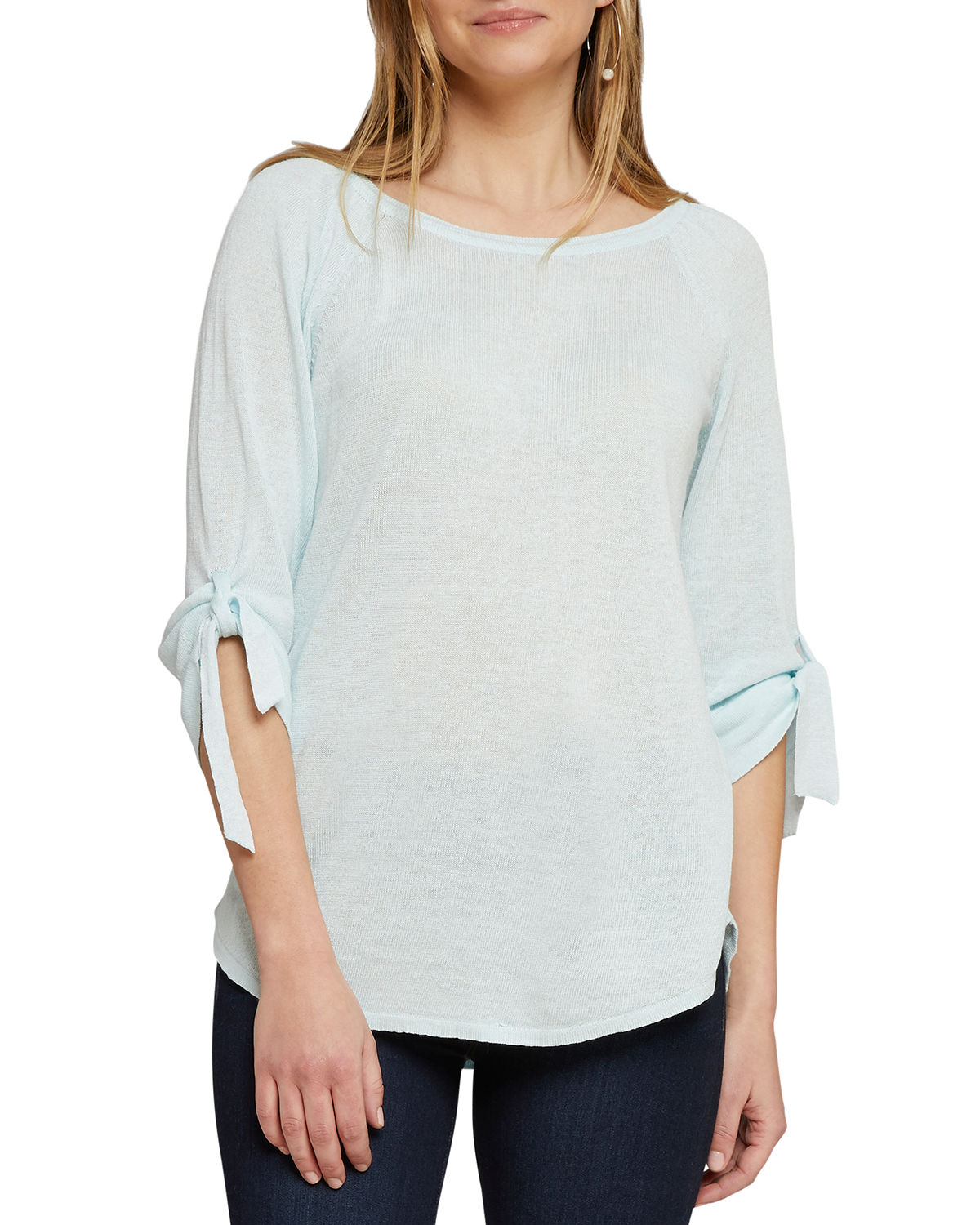 Nic+zoe Sweaters CASUAL FRIDAY BOAT-NECK TIE-CUFF SWEATER