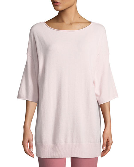 Lafayette 148 Shorts PLUS SIZE CASHMERE RELAXED SHORT-SLEEVE PULLOVER