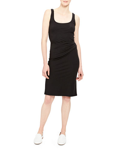 Scoop-Neck Ruched Tank Dress