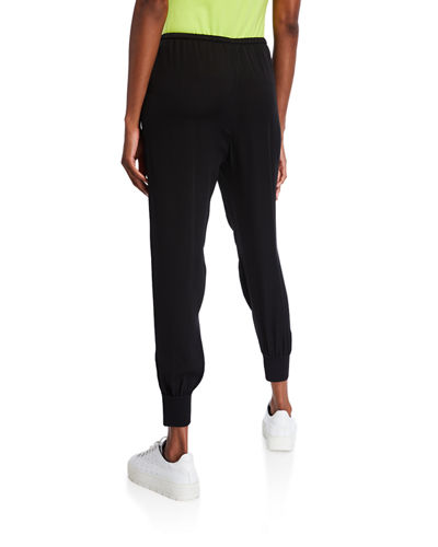 Theory Ribbed-Cuff Silk Jogger Pants