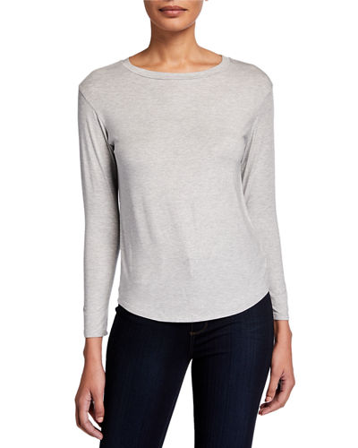 Metallic Bateau-Neck Long-Sleeve Tee