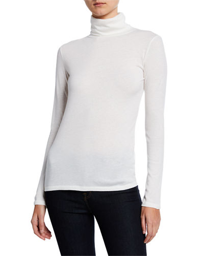 Cotton/Cashmere Long-Sleeve Turtleneck Tee