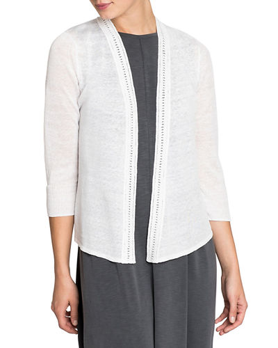 Open-Front Crochet Trim 4-Way Cardigan