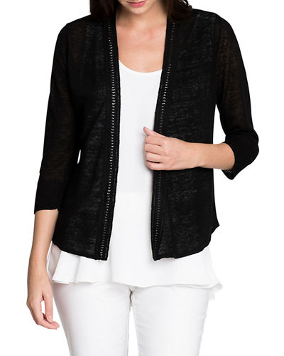 NIC+ZOE Petite Open-Front Crochet Trim 4-Way Cardigan